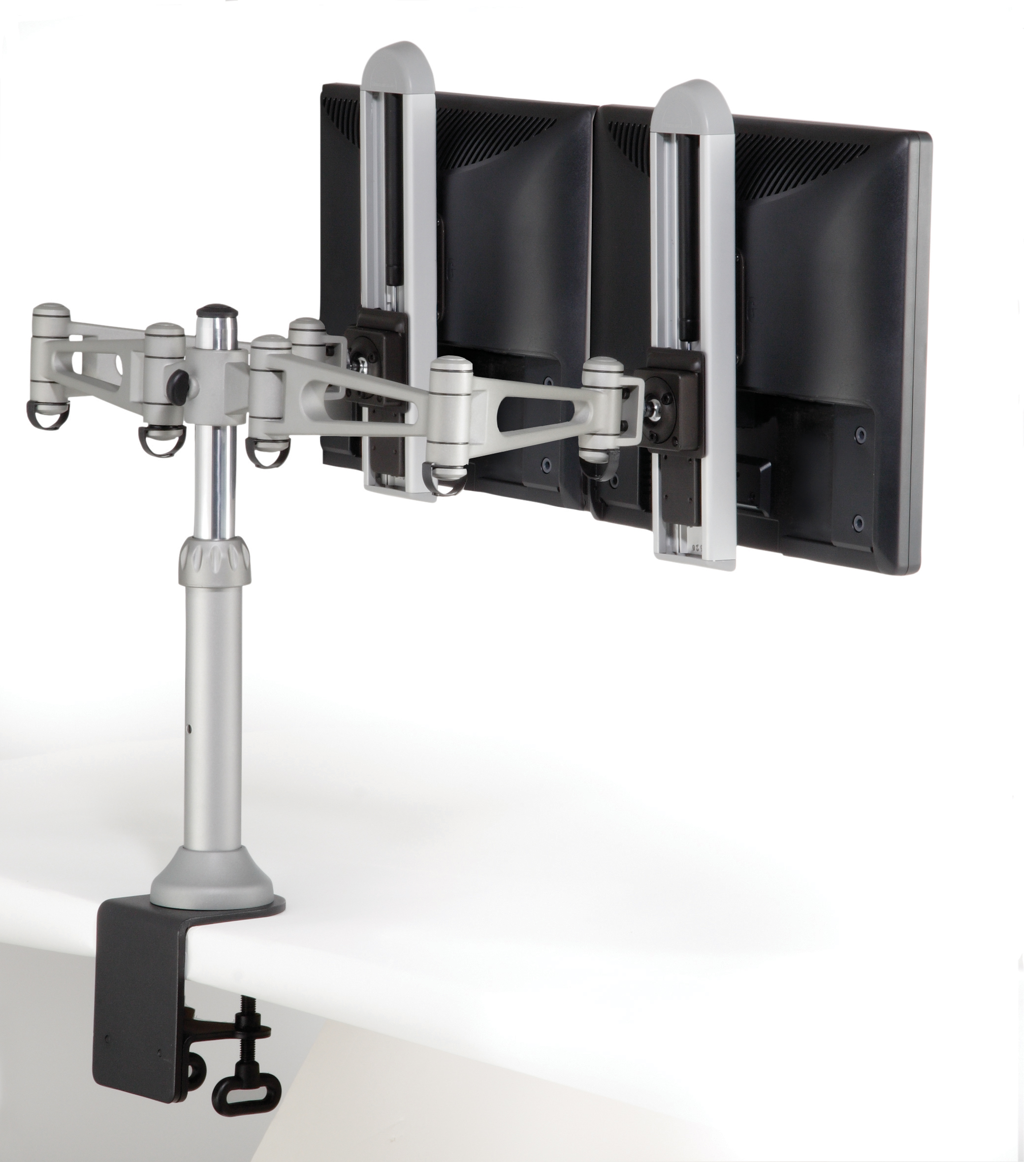 Monitor Arm Rm7 Desk Top Mount Clamp Style Dual Holder Shown With Front End Adjusters