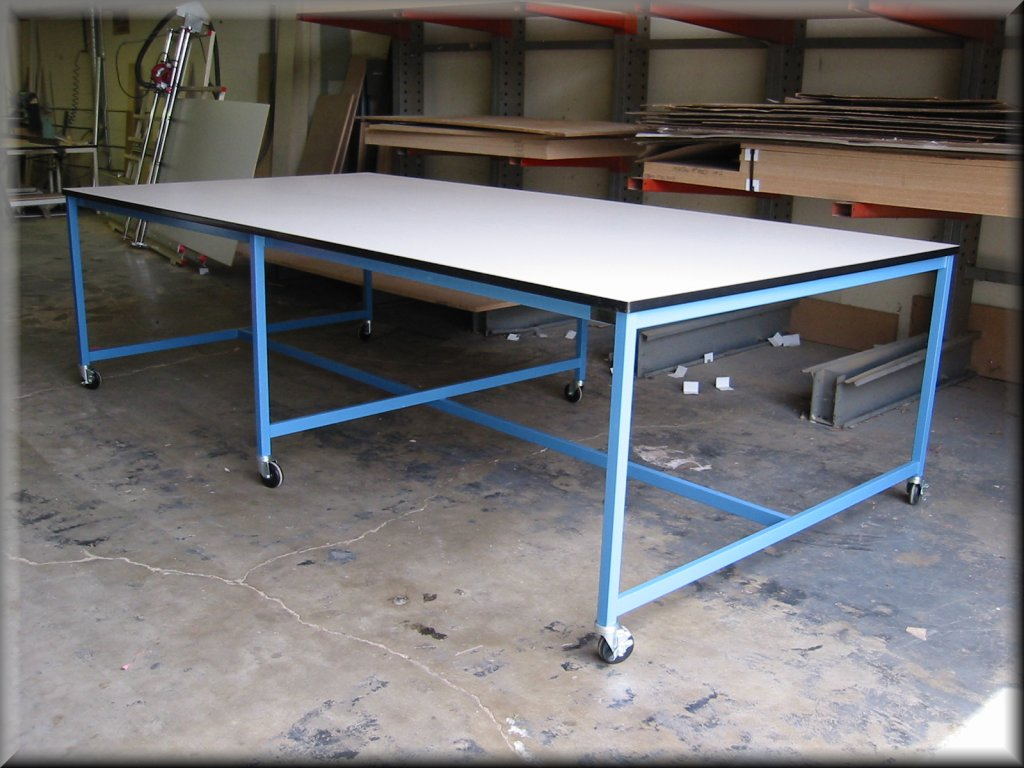 Large Tables At RDM Oversized Tables - Stainless steel work table with casters