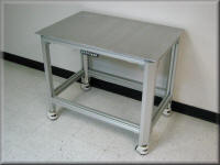 Extruded Aluminum Hydraulic Table w/ Hand Crank & Casters - Lift Table
