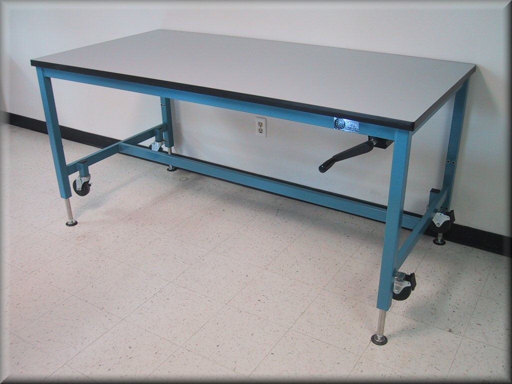 Adjustable Height Table With Part Time Casters ...