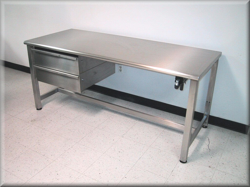 RDM Stainless Steel Adjustable Height Table Model APSS - Stainless steel work table with drawers