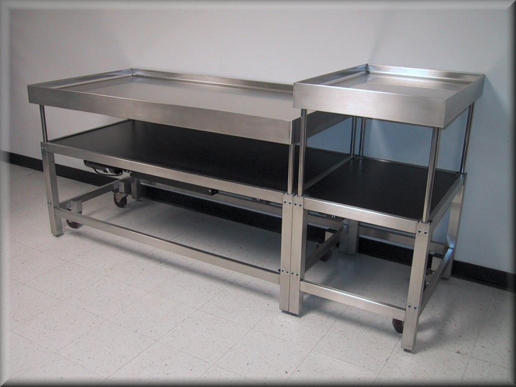 RDM Stainless Steel Adjustable Height Table Model APSS - Stainless steel table top shelves