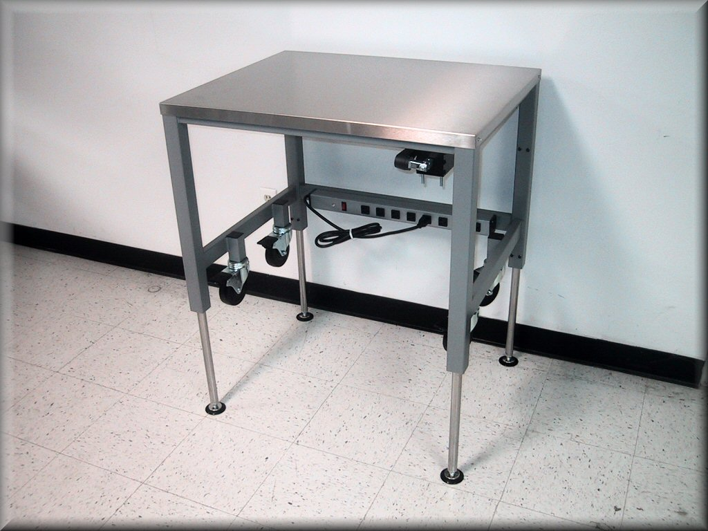 RDM Stainless Steel Adjustable Height Table Model APSS - Stainless steel work table on casters
