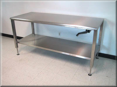RDM Stainless Steel Adjustable Height Table Model APSS - Stain steel table