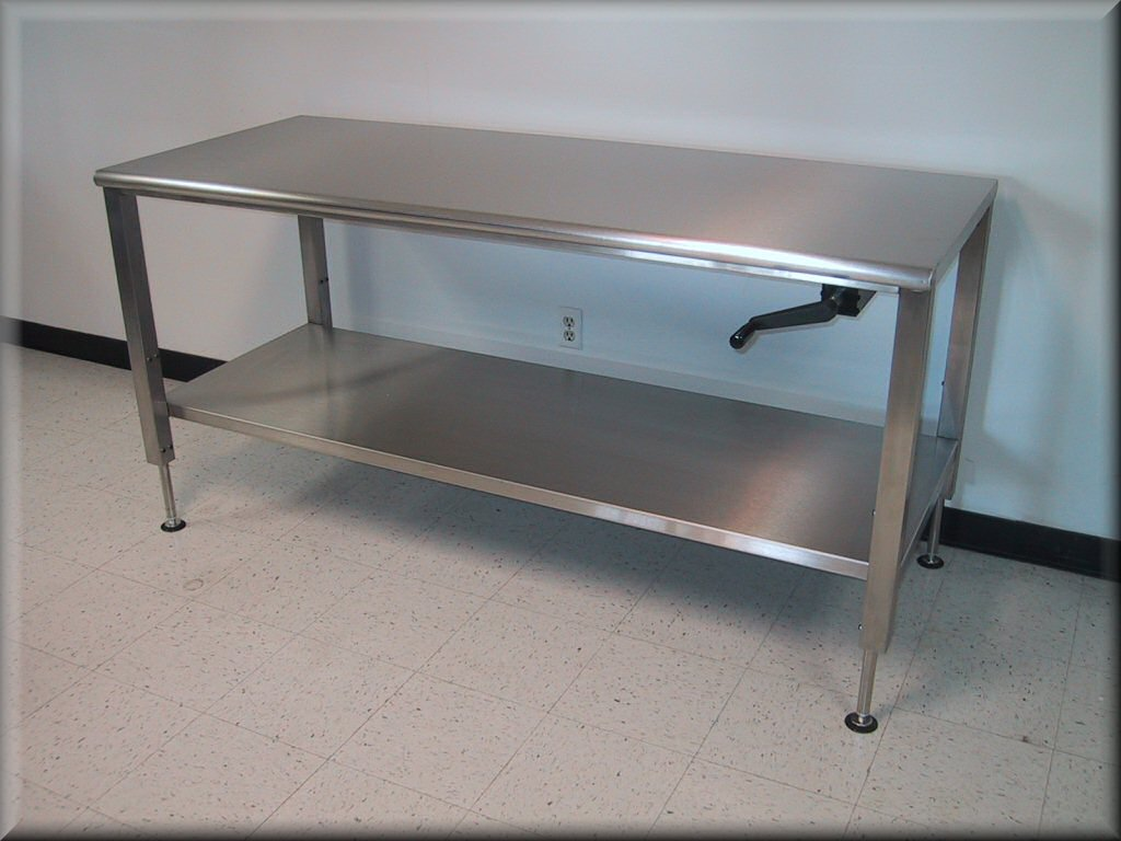 Full Lower Shelf, Stainless Steel Lift Table W/ Hand Crank