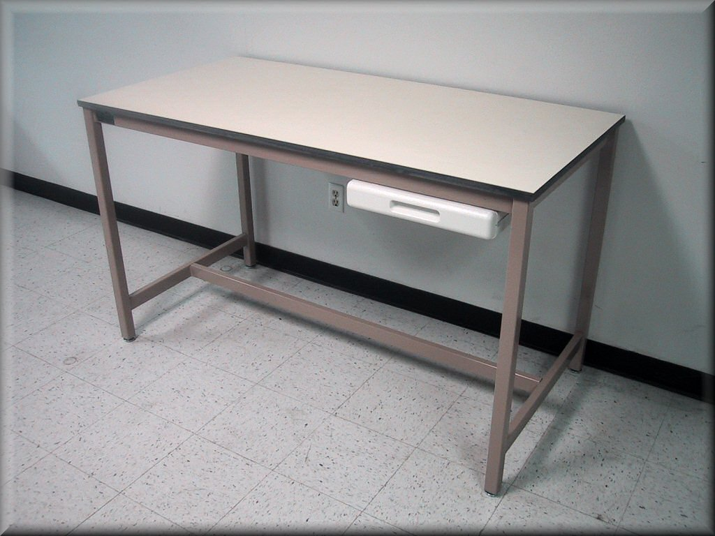 Flat Table With Weled Metal Frame And Single Pencil Drawer   Steel Frame  Table ...