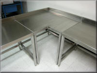 Stainless Steel L-Shaped Corner Table