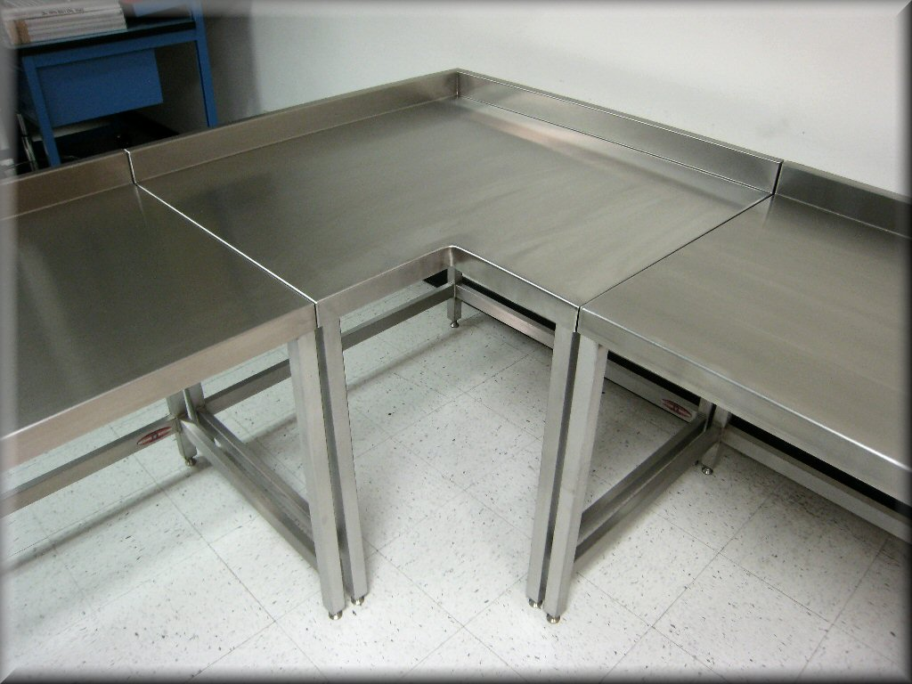 ... Stainless Steel L Shaped Corner Table