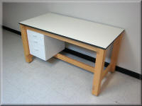 Wood Lab Table with Drawers