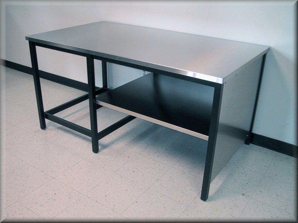 Large Table With Center Legs, Custom Lower Shelf U0026 Stainless Steel Tops  Quote Me (Enter Info. At Left)
