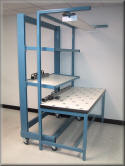 Side View Custom Ball Transfer Table with Flow Rack Cart
