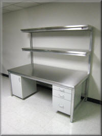 Aluminum Table with Upper Shelf