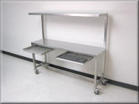 Stainless Steel Table with Upper Shelf - Stainless Steel Work Bench