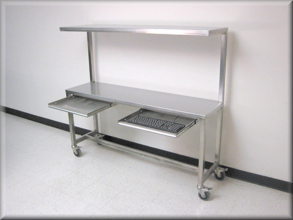 RDM Stainless Steel Table With Upper Shelf Model FPSS - 8 ft stainless steel work table