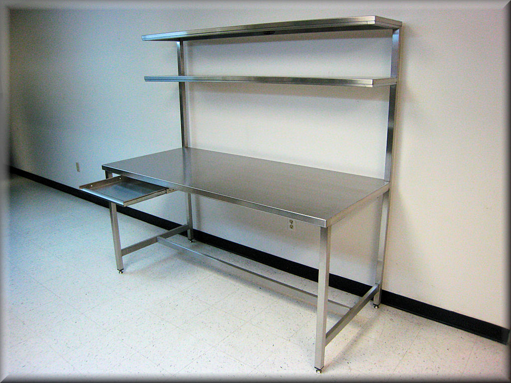 Rdm stainless steel table with upper shelf model f103p ss Bench with shelf