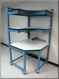 Corner Table Workstation with Double Upper Shelves