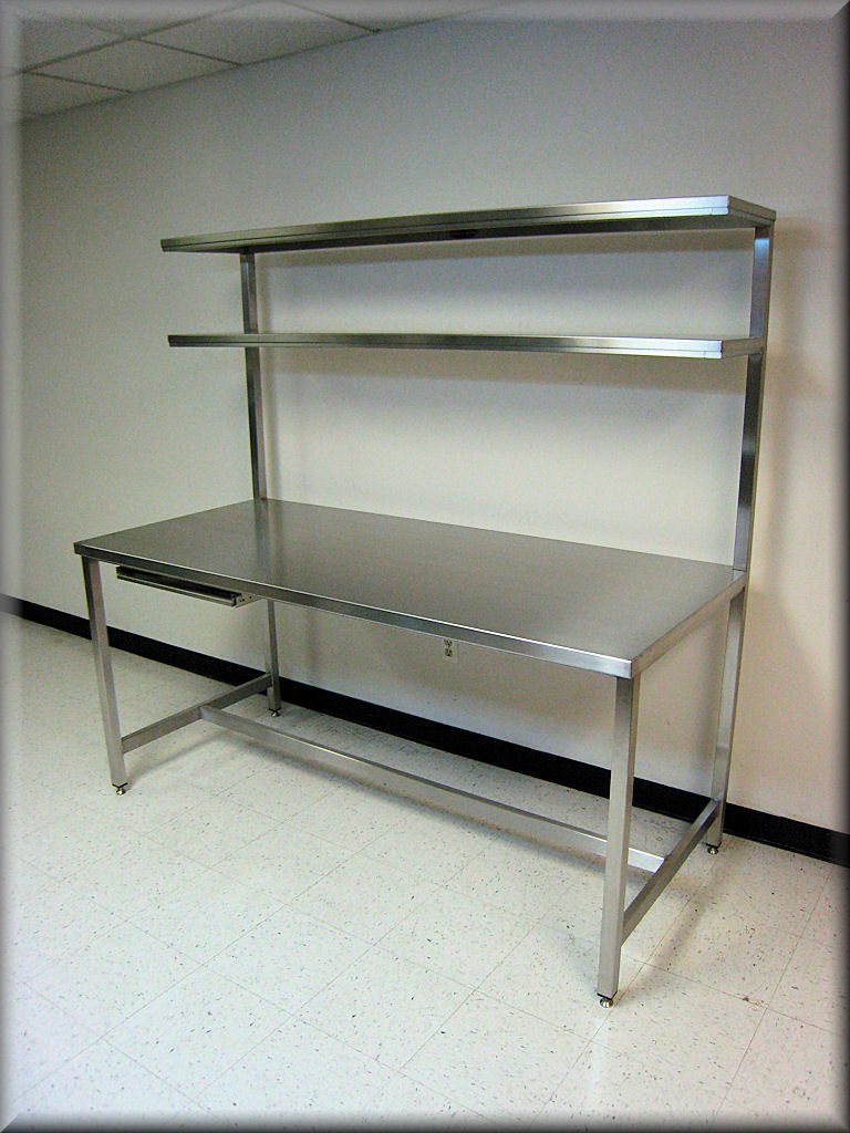 stainless steel table with double upper shelves and sliding keyboard tray - Stainless Steel Table Top