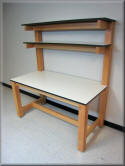 Wood Frame Lab Table with Double Upper Shelves