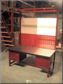 Industrial Furniture Workbench with Overhead Boom, Bin Panel, White Board, Drawers and Tack Board