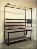 Fully Adjustable Workbench with Articulating Monitor Stand and Bin Rail - Model F-107P