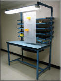 Workbench with Flow Rack Shelves and Articulating Tool Board - Model FR-104P