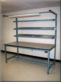 Flow Rack Workbench with Wire Shelves