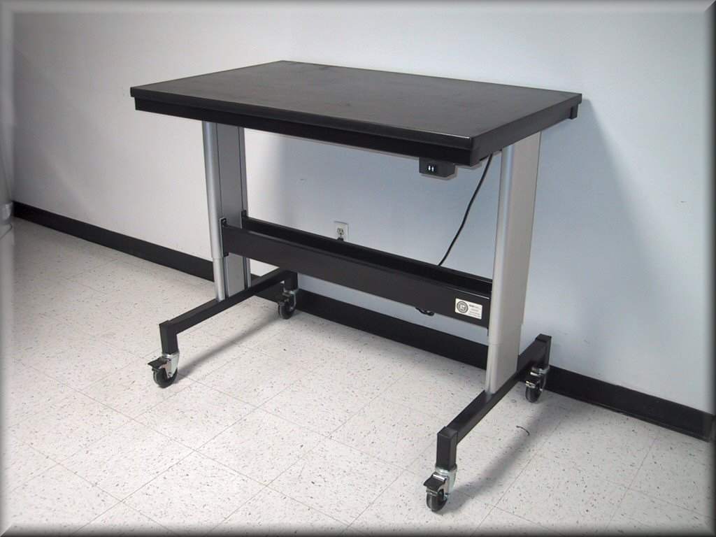 Adjustable height microscope tables at rdm equipment Motorized table