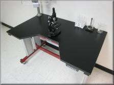 Microscope Table with Recessed Seating Area on Top