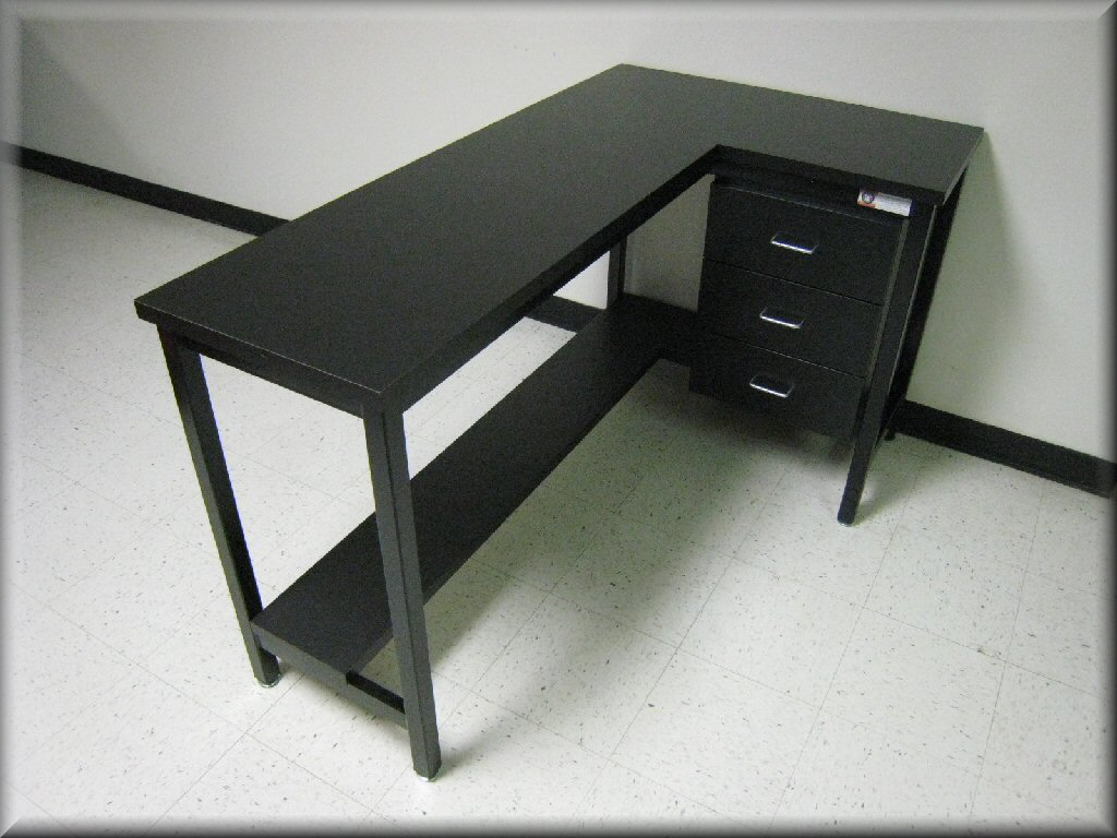 Beau ... L Shaped Table With Lower Shelf And Cabinet