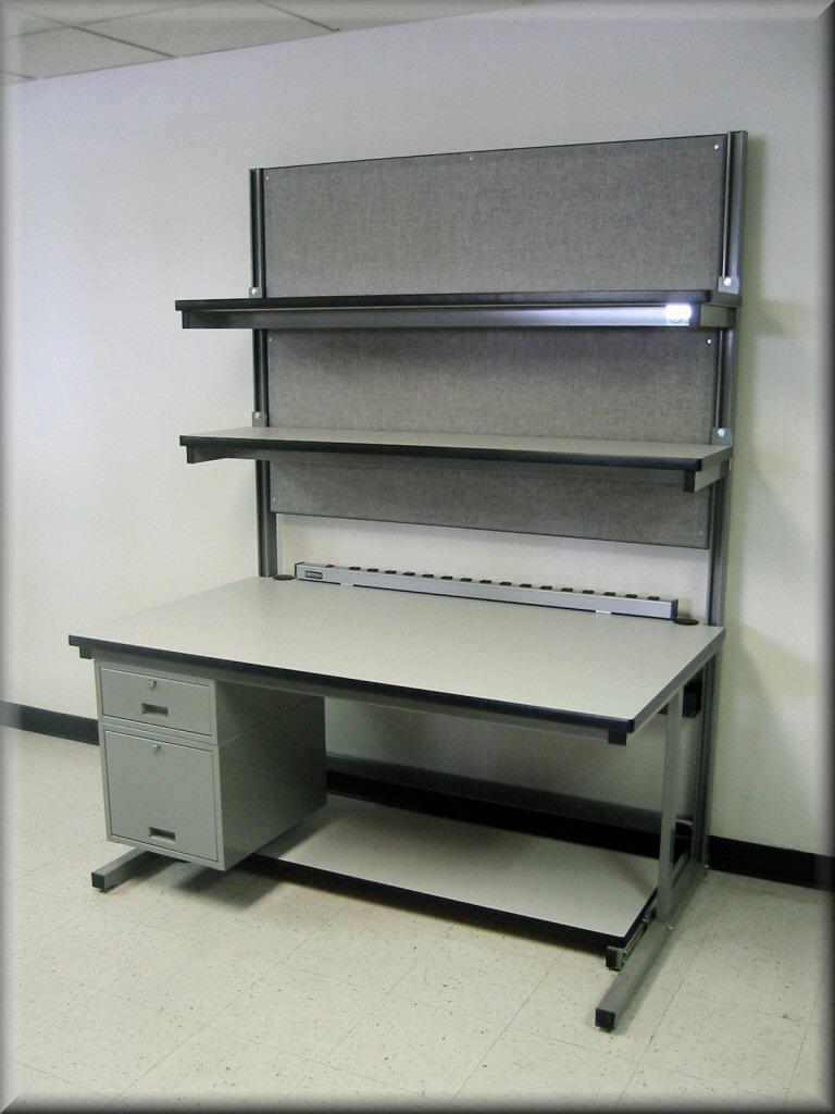 Table model ls 106p workstation w dual adjustable upper shelves