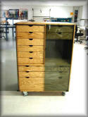 Custom Wood Cabinet w/ Drawers & Locking Glass Doors