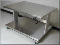 Adjustable Height Stainless Steel Cart with Lower Shelf
