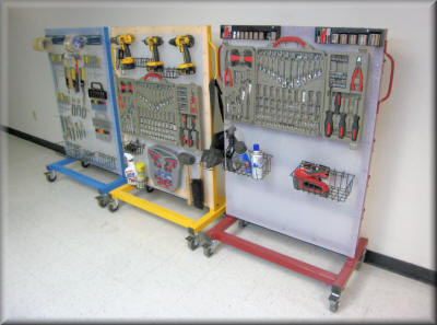 Tool Carts with Polypropylene Peg Board and Bin Rails