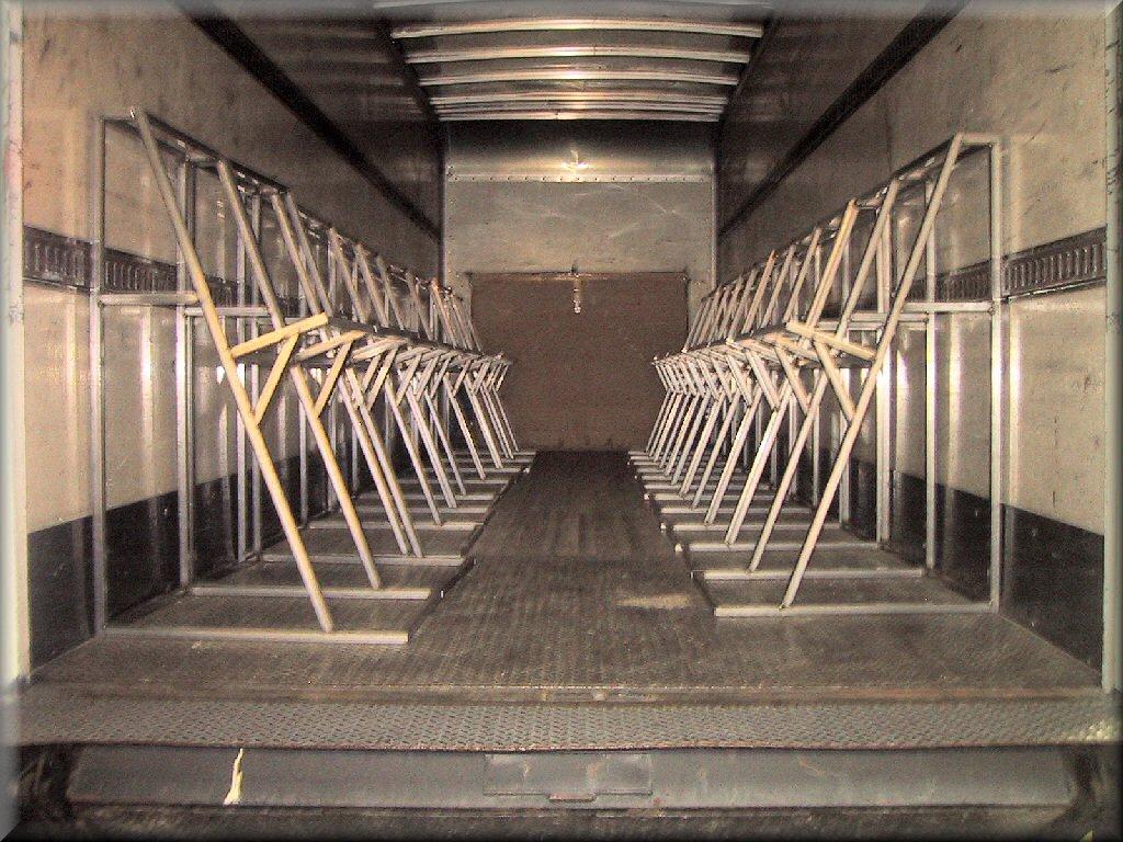 truckload of custom metal frames