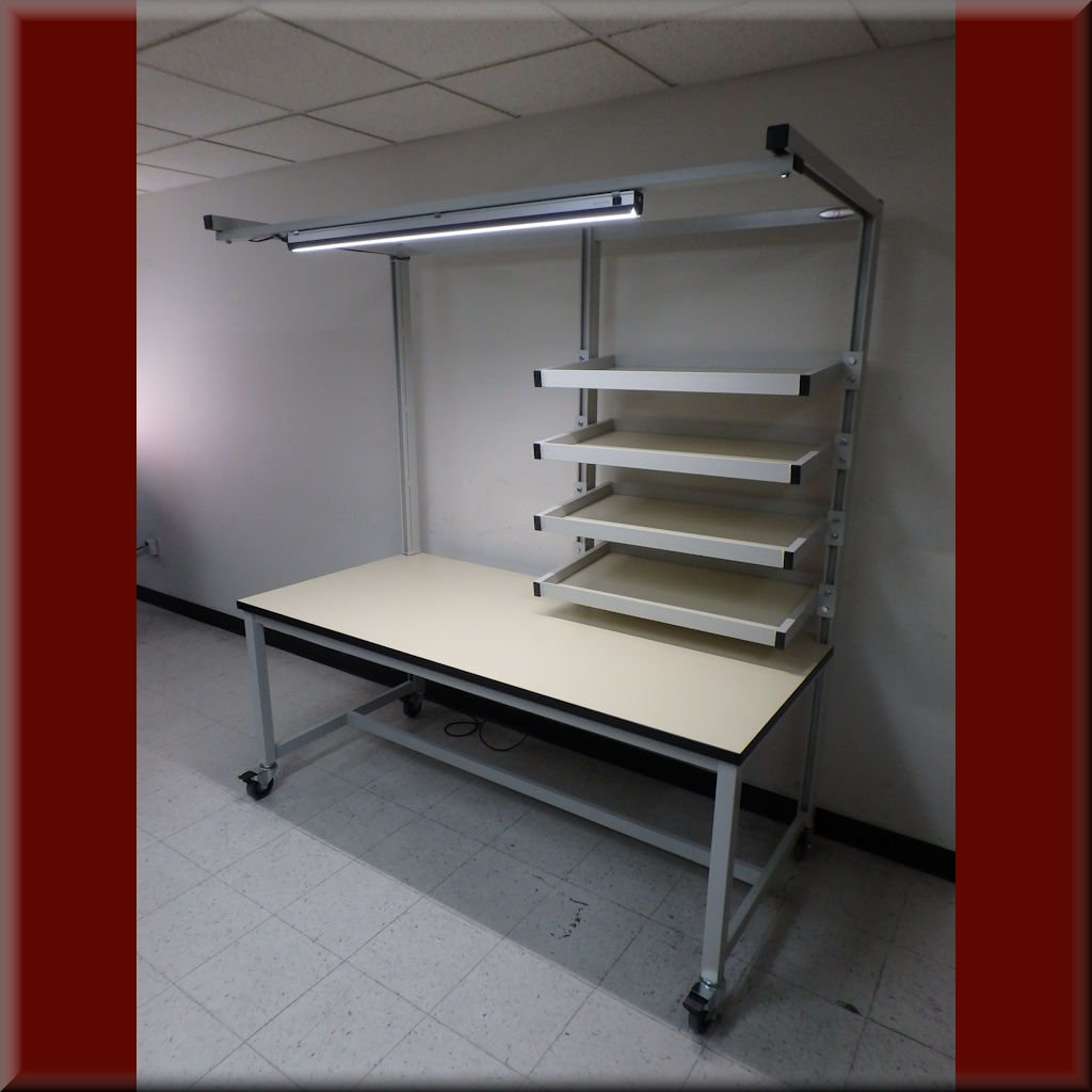 Table Model <span style='color: #800000;'><strong>FR-104P-SP</strong></span> <BR> – Flow Rack Shelf Workstation w/ Split Shelving