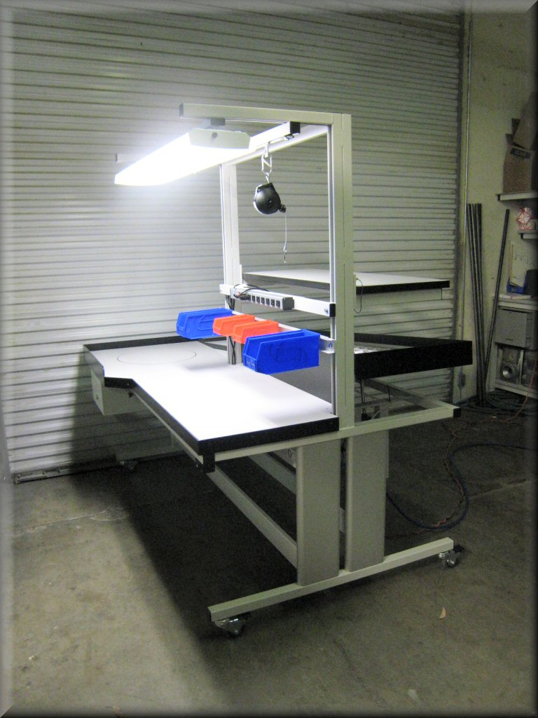 Rdm Esd Workbench I 107p Boom Esd Fully Adjustable Static Control Lift Table W Overhead