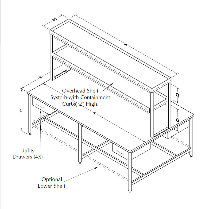 Table Model <span style='color: #800000;'><strong>AR-109P-CLG-DBLRSR</strong></span> – Laboratory Table with Center Shelving Unit