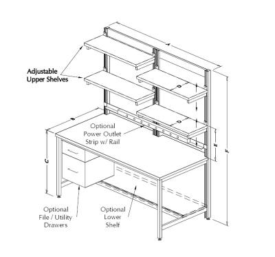 Table Model F-103P-TECH-SP – Tech Style Workbench with Split-Style Upper Shelves