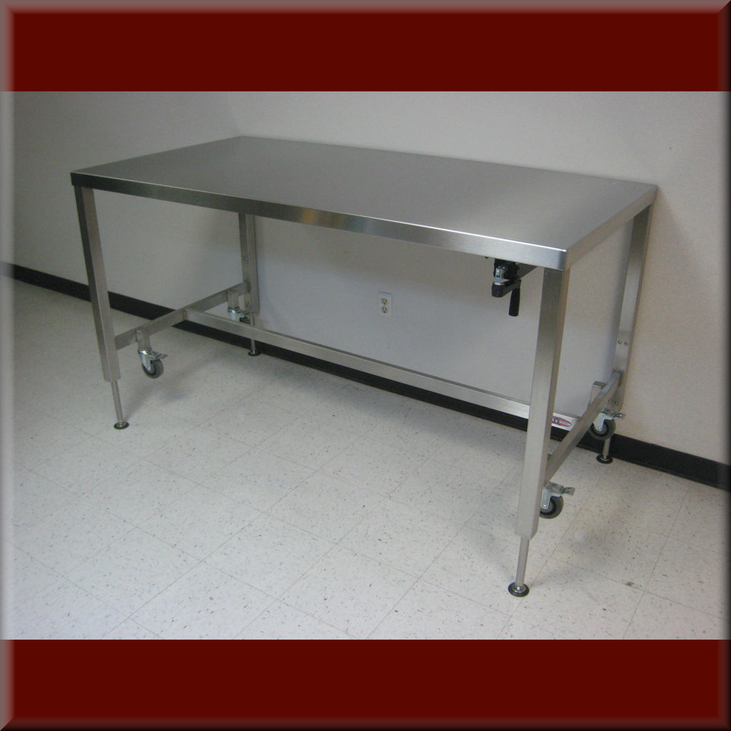 Table Model <span style='color: #800000;'><strong>A-107P-SS</strong></span> – Stainless Steel Frame Workbench w/ Hydraulic Lift