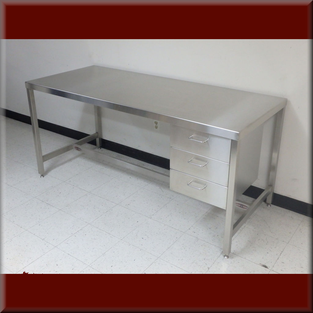 Table Model <span style='color: #800000;'><strong>A-109P-SS</strong></span> – Stainless Steel Frame Flat Top Workbench