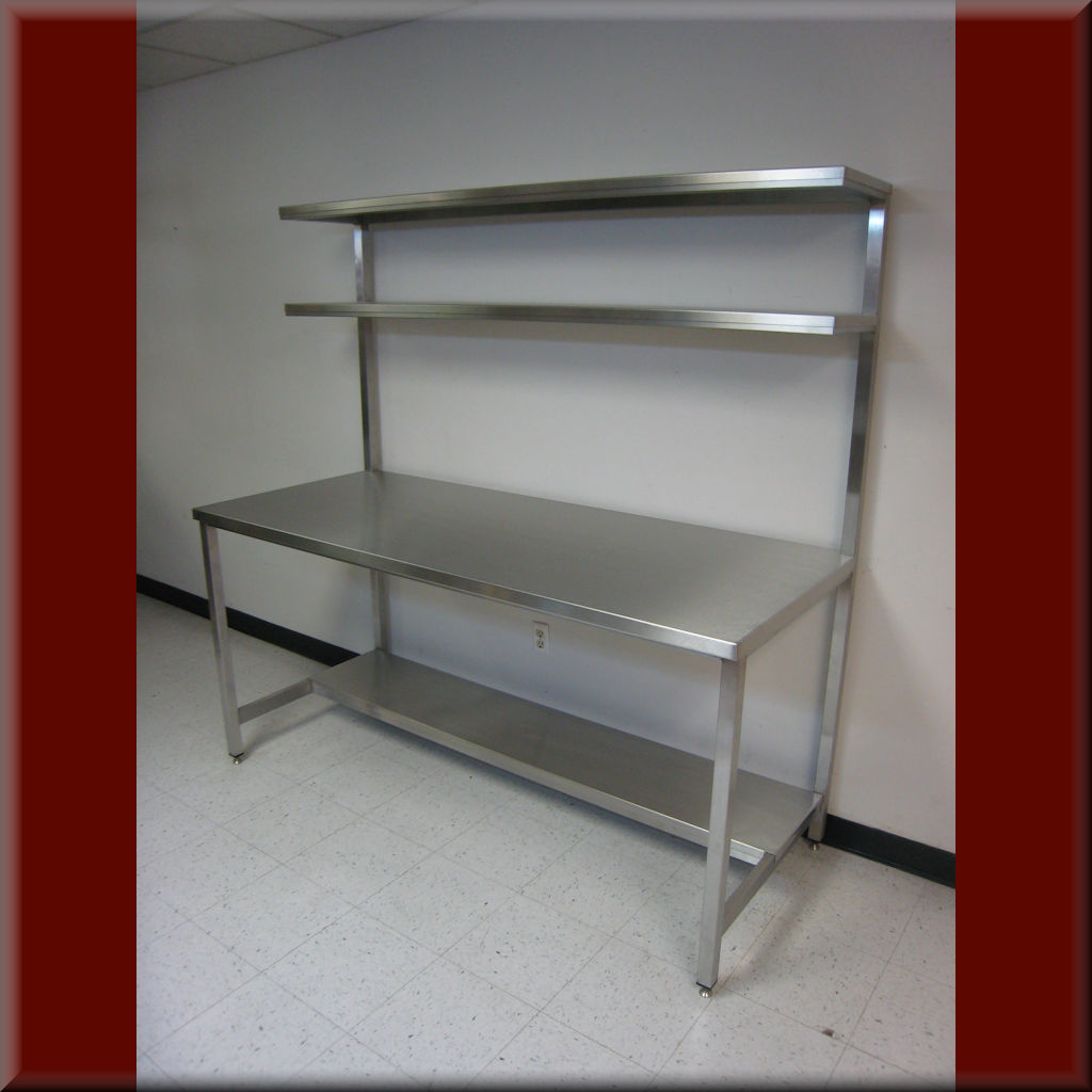 Table Model <span style='color: #800000;'><strong>F-103PL/DS-SS</strong></span> – Stainless Steel Tech Workbench w/ Double Upper Shelves