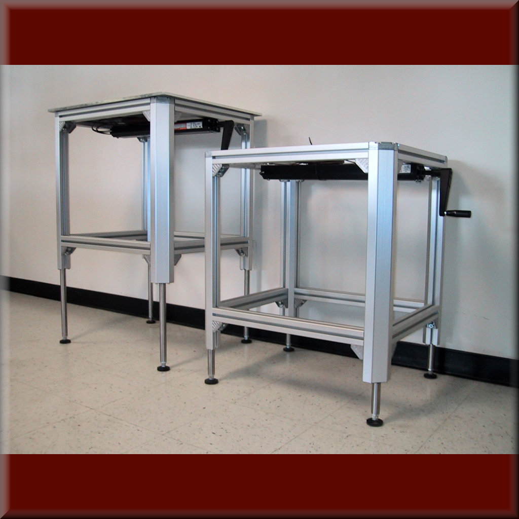 Table Model <span style='color: #800000;'><strong>A-107P-AL-EXT-S</strong></span> – Aluminum Frame w/ Hydraulic Lift – 6.10, 7.87, & 11.81″ Lift Ranges – 750 lb cap.