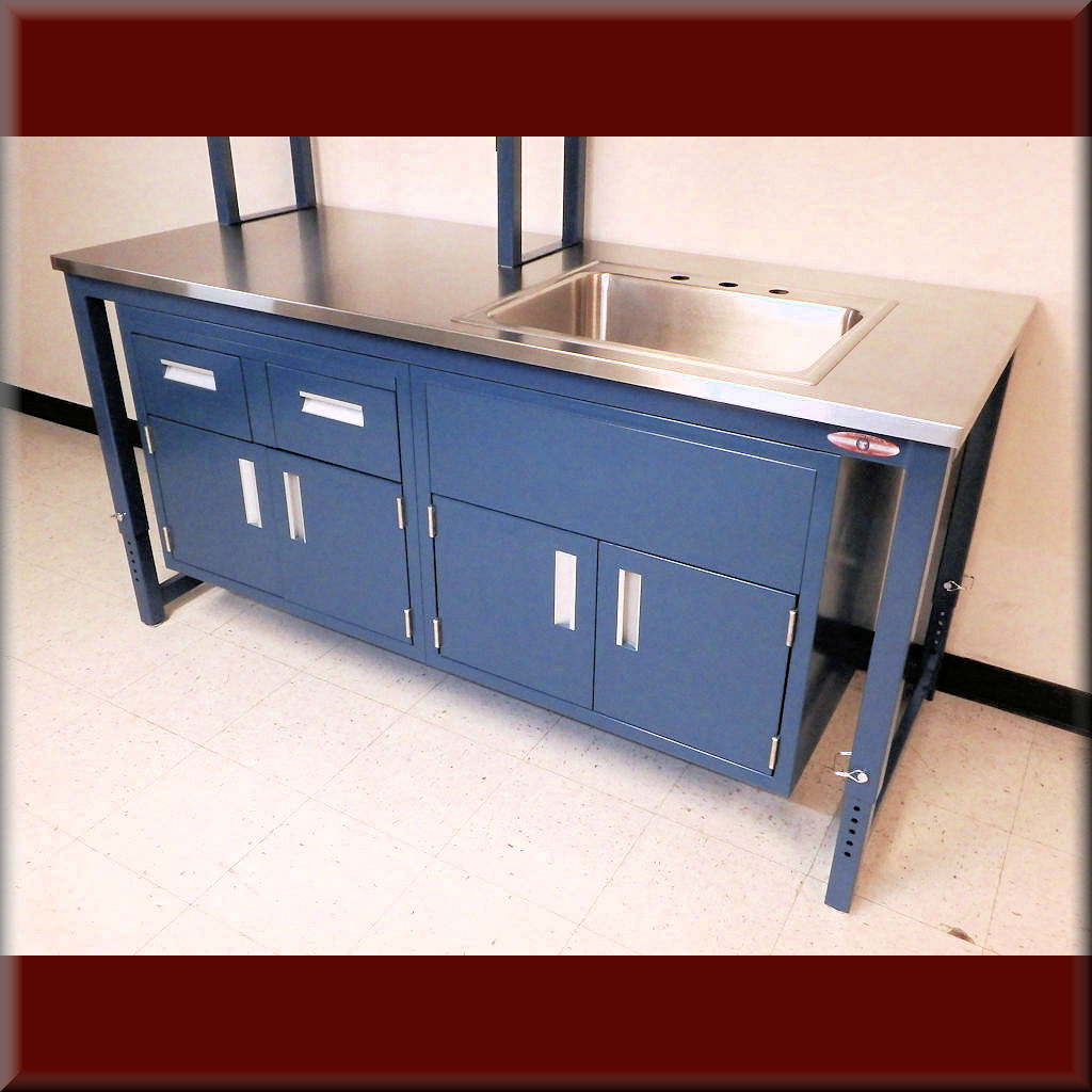 Table Model A-109P-LAB-CAB – Laboratory Table with Suspended Steel Cabinet(s)