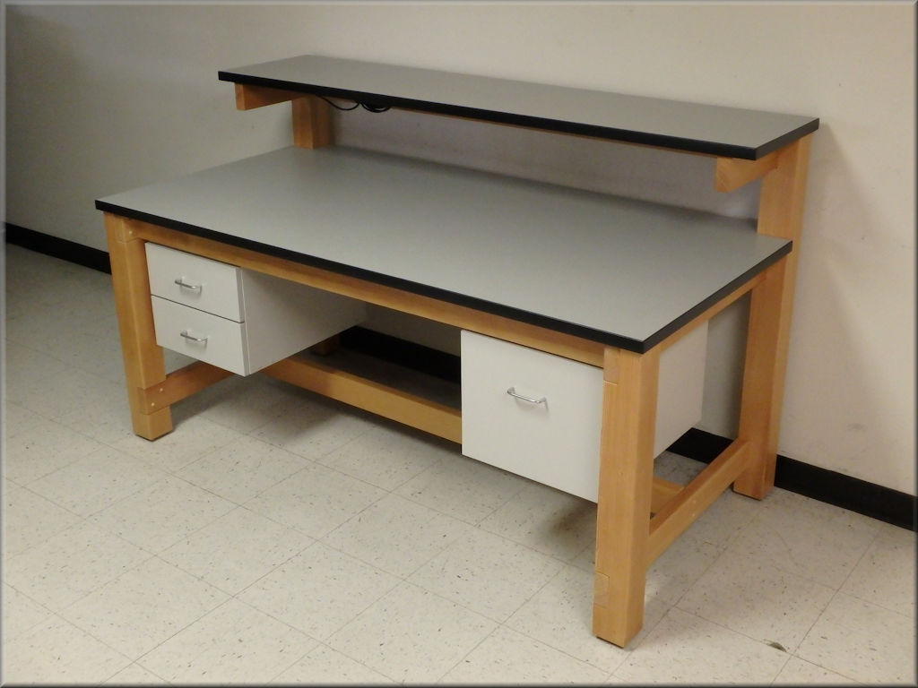 Wood Frame Laboratory Table w/ Single Upper Shelf
