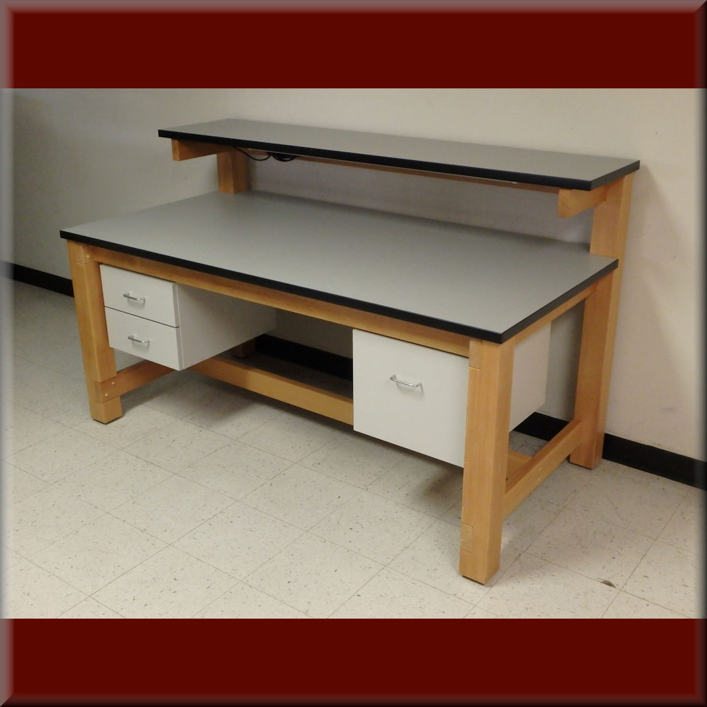 Table Model <span style='color: #800000;'><strong>F-103P-WD-ESD</strong></span> – ESD Wood Frame Tech Style Workbench