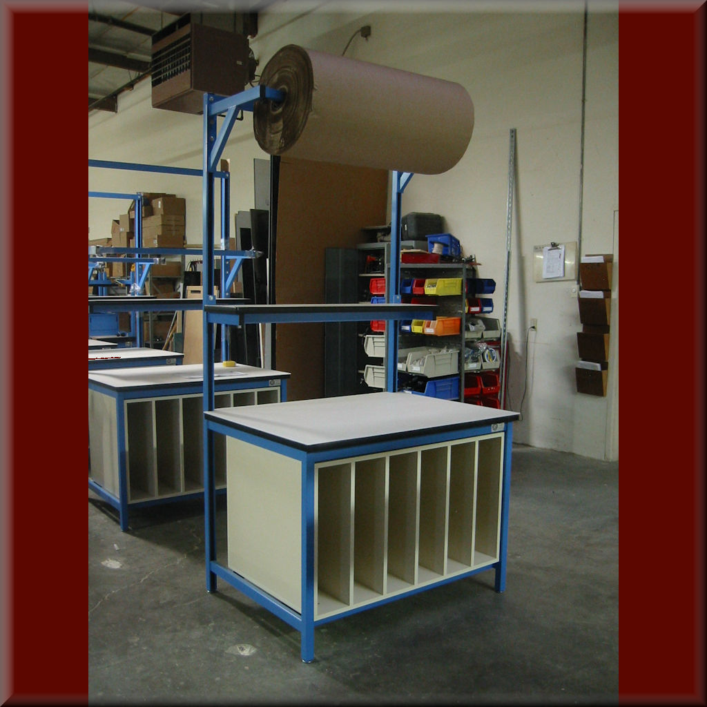 Table Model P-103P-CAB – Packaging Workstation with Lower Storage Cabinet & Overhead Roll Holder