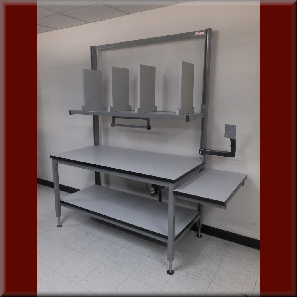 Table Model <span style='color: #800000;'><strong>P-107P-HYD</strong></span> – Ergonomic Packaging Workstation w/ Hydraulic Lift
