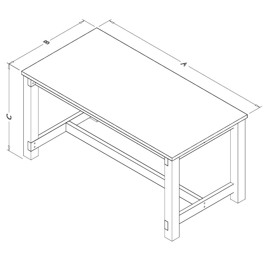 Table Model A-109P-WD – Flat Top Wood Frame Workbench
