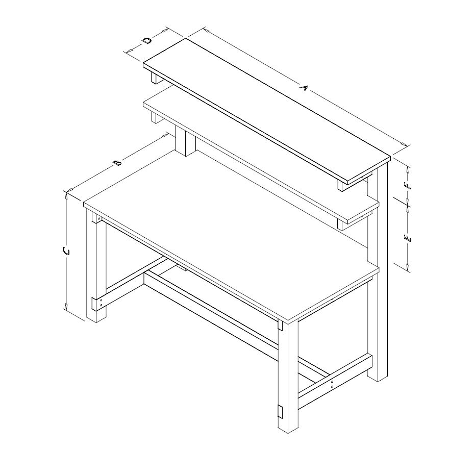 Table Model <span style='color: #800000;'><strong>F-103PLDS-WD</strong></span> – Wood Frame Tech Workbench w/ Dual Shelves