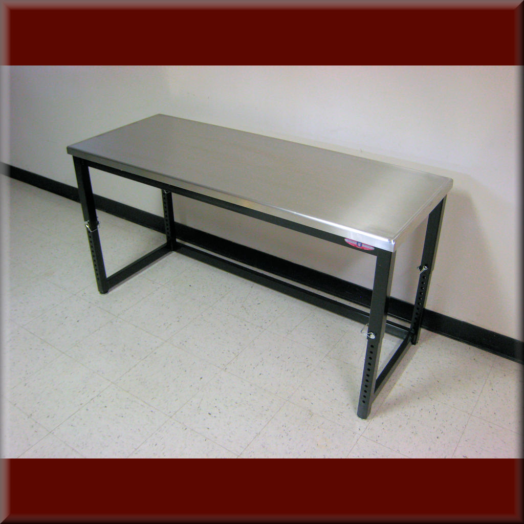 Table Model <span style='color: #800000;'><strong>A-109P-PIN</strong></span> – Adjustable Height Workbench w/ Leg Pins